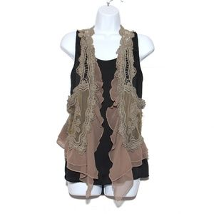 Umgee Lace vest sheer ruffle  tulle M/L
